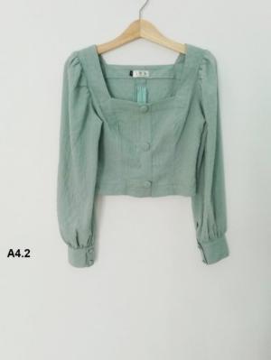 Áo Croptop dài tay màu xanh thời trang tự thiết kế A4.2