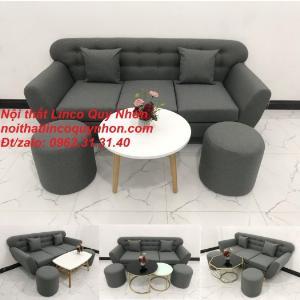 Bộ ghế sofa băng văng 1m9 xám đen rẻ đẹp ở tại Nội thất Linco Quy Nhơn