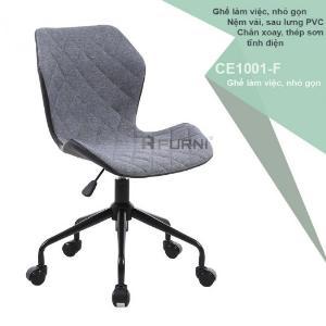 Ghế phòng họp chân xoay nệm vải xám chân thép sơn đen CE1001-F hiện đại giá rẻ TpHCM