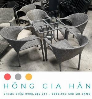 Bộ bàn ghế mây nhựa Hồng Gia Hân BGM22