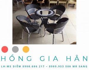 Bộ bàn ghế mây nhựa Hồng Gia Hân BGM30