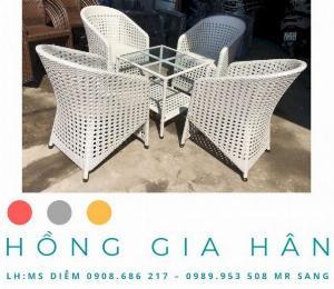 Bàn ghế mây nhựa Hồng Gia Hân BGM36