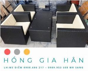 Bộ bàn ghế mây nhựa Hồng Gia Hân BGM37