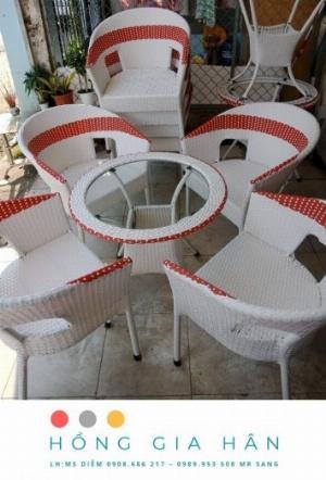 Bộ bàn ghế mây nhựa Hồng Gia Hân BGM41