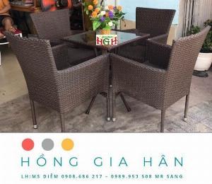 Bộ bàn ghế mây nhựa Hồng Gia Hân BGM48