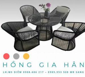 Bộ bàn ghế mây nhựa Hồng Gia Hân BGM49