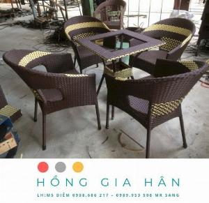 Bộ bàn ghế mây nhựa Hồng Gia Hân BGM50