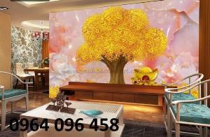 Tranh 3d cây tiền - tranh gạch 3d cây kim tiền - DX43