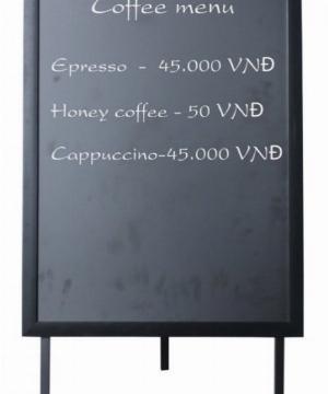Bảng Menu Cafe 1 Mặt Khung Gỗ Có Chân