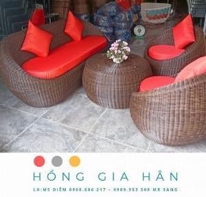 Bộ bàn ghế sofa mây nhựa Hồng Gia Hân BGM76