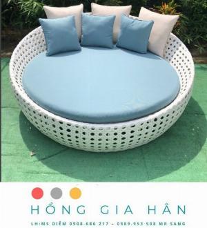 Giường tắm nắng thư giãn mây nhựa Hồng Gia Hân GM05