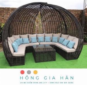 Giường mây tắm nắng Resort, biệt thự Hồng Gia Hân GM06