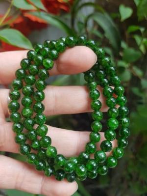 Vòng Diopsie Cao Cấp Ngọc A Vip size 6mm đeo tay kiểu quấn 3 vòng đẹp sang nữ mệnh Mộc Hỏa 2399k