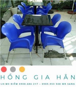 Bàn ghế nhựa đúc Nữ Hoàng Hồng Gia Hân BGN28