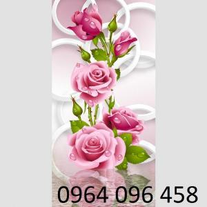 Tranh hoa hồng tranh gạch 3d hoa hồng - QNV33