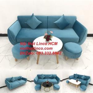 Bộ ghế sofa băng dài 1m9 nhỏ màu xanh dương nước biển giá rẻ Nội thất Linco Tphcm HCM