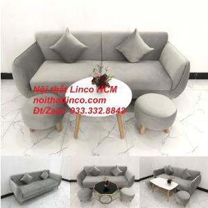 Bộ ghế sofa băng vải nhung xám ghi trắng cho phòng khách nhỏ Nội thất Linco HCM
