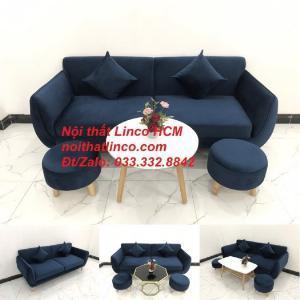 Bộ ghế sofa băng màu xanh dương đen đậm vải nhung giá rẻ đẹp Nội thất Linco Tphcm