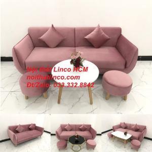 Bộ ghế sofa băng màu hồng hường vải nhung đẹp nhỏ gọn Nội thất Linco HCM Tphcm
