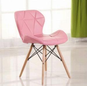 Ghế nệm da tam giác chân gỗ màu hồng phấn