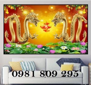 Tranh gạch 3d - tranh rồng vàng - gạch ốp tường