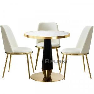 Bàn café bàn trà mặt đá tròn 70 cm chân sắt sơn tĩnh điện đẹp sang trọng te rocket-07ec nhập khẩu