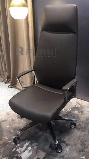 Ghế giám đốc lưng cao nệm simili đen và nâu nhập khẩu nội thất Furni HCM | CM4413-P