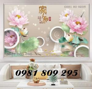 Tranh hoa sen - tranh gạch men - gạch tranh 3d
