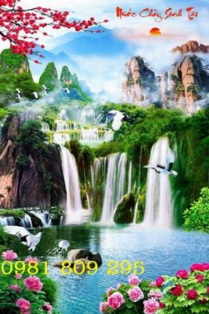 Tranh gạch men - tranh thác nước khổ đứng