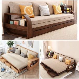 Sofa giường gỗ kéo sang trọng cho phòng khách tại Dĩ An, Bình Dương
