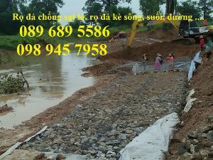 Rọ thép chống sạt lở bờ sông, Làm Rọ đá kè hồ 2x1x1, 1x1x1 mạ kẽm và bọc nhựa