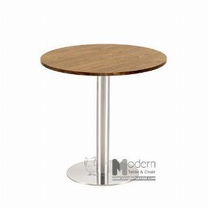 Bàn tròn cafe mặt gỗ tự nhiên chân trụ inox hiện đại