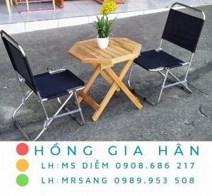 Bộ bàn ghế sắt xếp gọn Hồng Gia Hân BGS24