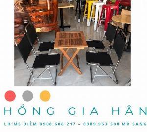 Bộ bàn ghế Cafe xếp gọn Hồng Gia Hân BGS24
