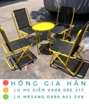 Bộ bàn ghế xếp lưng lưới Hồng Gia Hân BGS23