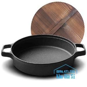 Bán nồi gang đen đúc nguyên khối nấu lẩu cho nhà hàng kiểu Nhật - Nồi gang đen nắp đậy bằng gỗ nấu cơm cháy truyền thống
