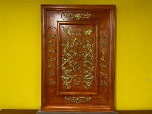 Tranh cửu huyền thất tổ gỗ hương dát vàng T201