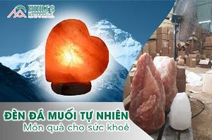 Đèn đá muối trái tim đế đá cẩm thạch