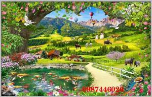 Tranh gạch men phong cảnh hàng cây HP0587