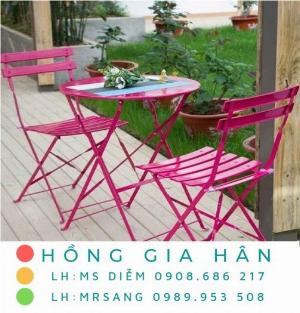 Bàn ghế cafe giá rẻ Hồng Gia Hân BGS32