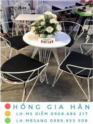 Bàn ghế cafe giá rẻ Hồng Gia Hân BGS34
