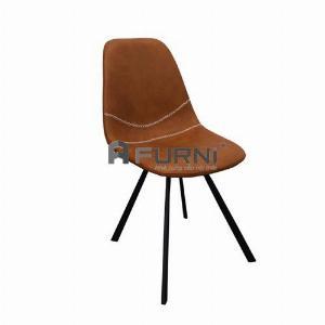 Ghế ăn có nệm simili đen và nâu chân chéo sắt sơn tĩnh điện LUX 4A-P