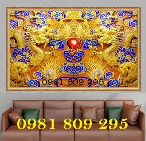 Tranh rồng vàng - gạch tranh ốp bàn thờ 3d