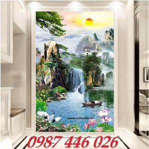 Gạch tranh 3d phong cảnh thác nước khổ đứng HP700
