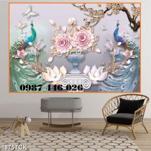 Tranh gạch men chim công ốp trên tường đẹp HP977