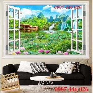 Tranh gạch men phong cảnh cửa sổ tuyệt đẹp Hp5295