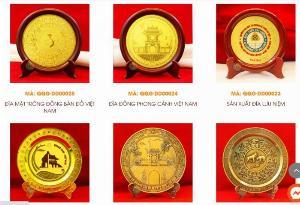 Sản xuất đĩa đồng đúc, Đĩa đồng lưu niệm, đĩa đồng mạ vàng