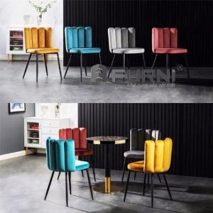 Ghế bàn ăn đẹp ghế tiếp khách spa thẩm mỹ vải nhung chân sắt sơn tĩnh điện đen mờ CC 3006-F