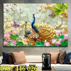 Tranh chim công, tranh gạch ốp tường đẹp HP5202