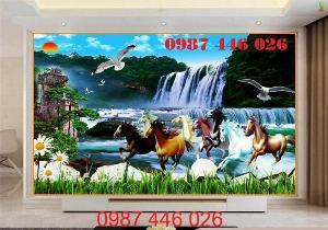 Gạch tranh phong thủy ốp tường phòng khách HP0766